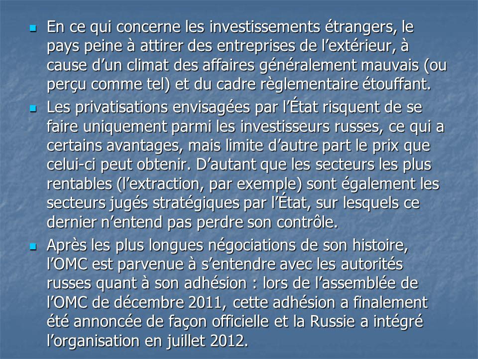 En ce qui concerne les investissements étrangers, le pays peine à attirer des entreprises de l'extérieur, à cause d'un climat des affaires généralement mauvais (ou perçu comme tel) et du cadre règlementaire étouffant.