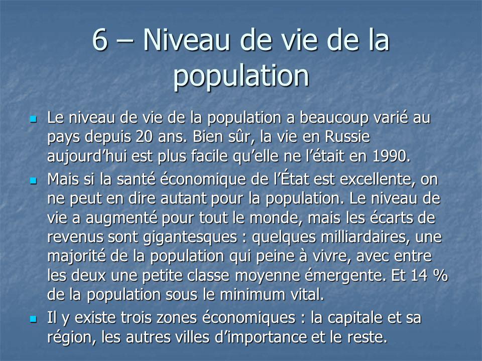 6 – Niveau de vie de la population