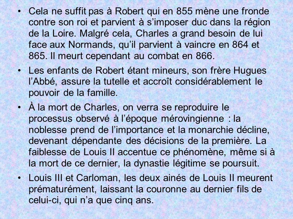 Cela ne suffit pas à Robert qui en 855 mène une fronde contre son roi et parvient à s'imposer duc dans la région de la Loire. Malgré cela, Charles a grand besoin de lui face aux Normands, qu'il parvient à vaincre en 864 et 865. Il meurt cependant au combat en 866.