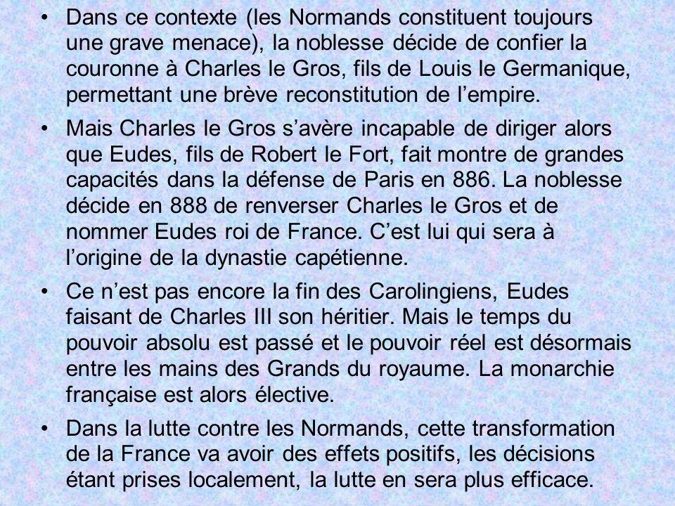Dans ce contexte (les Normands constituent toujours une grave menace), la noblesse décide de confier la couronne à Charles le Gros, fils de Louis le Germanique, permettant une brève reconstitution de l'empire.
