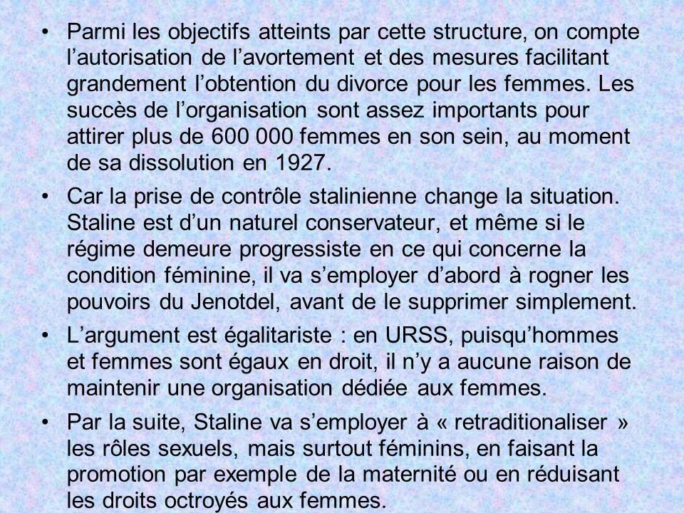 Parmi les objectifs atteints par cette structure, on compte l'autorisation de l'avortement et des mesures facilitant grandement l'obtention du divorce pour les femmes. Les succès de l'organisation sont assez importants pour attirer plus de 600 000 femmes en son sein, au moment de sa dissolution en 1927.