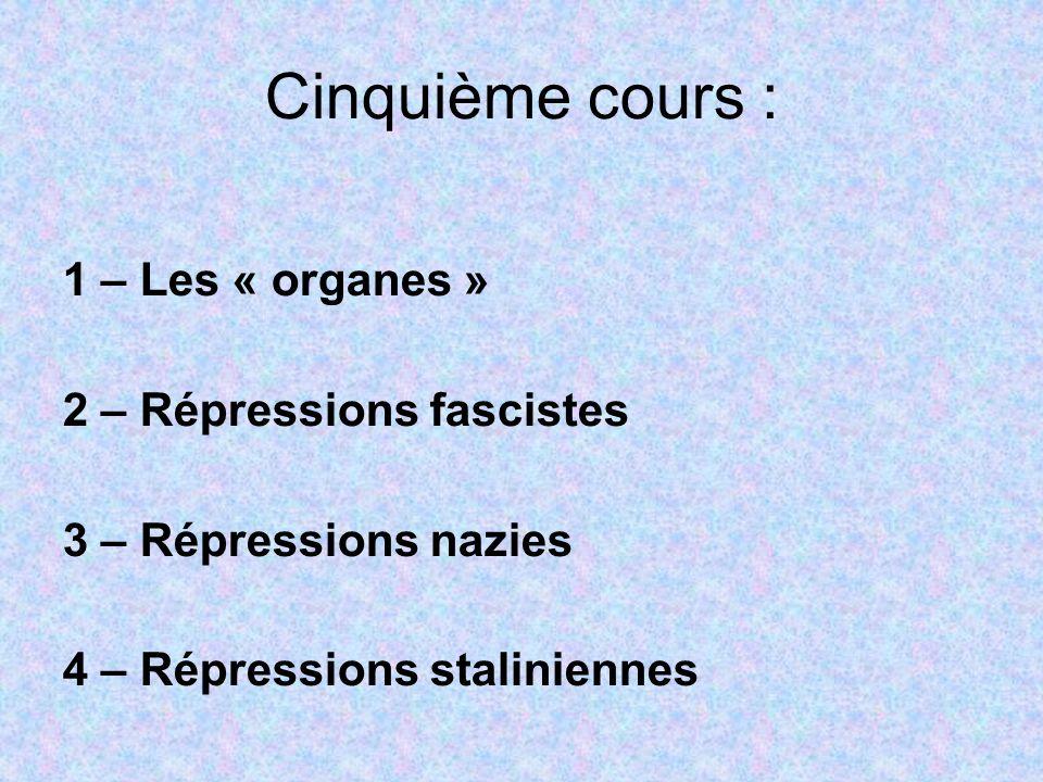 Cinquième cours : 1 – Les « organes » 2 – Répressions fascistes 3 – Répressions nazies 4 – Répressions staliniennes