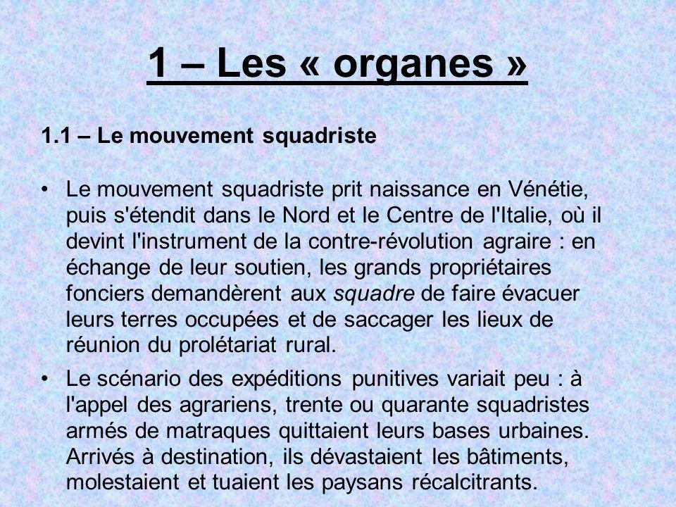 1 – Les « organes » 1.1 – Le mouvement squadriste