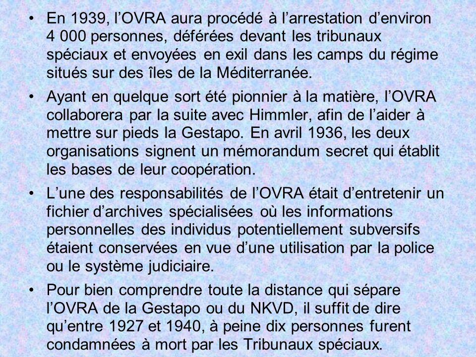 En 1939, l'OVRA aura procédé à l'arrestation d'environ 4 000 personnes, déférées devant les tribunaux spéciaux et envoyées en exil dans les camps du régime situés sur des îles de la Méditerranée.