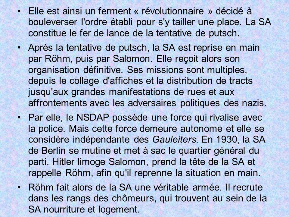 Elle est ainsi un ferment « révolutionnaire » décidé à bouleverser l ordre établi pour s y tailler une place. La SA constitue le fer de lance de la tentative de putsch.