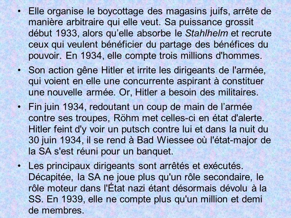 Elle organise le boycottage des magasins juifs, arrête de manière arbitraire qui elle veut. Sa puissance grossit début 1933, alors qu'elle absorbe le Stahlhelm et recrute ceux qui veulent bénéficier du partage des bénéfices du pouvoir. En 1934, elle compte trois millions d hommes.