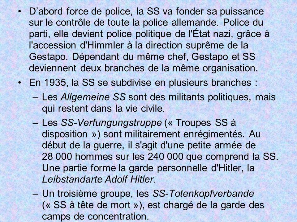D'abord force de police, la SS va fonder sa puissance sur le contrôle de toute la police allemande. Police du parti, elle devient police politique de l État nazi, grâce à l accession d Himmler à la direction suprême de la Gestapo. Dépendant du même chef, Gestapo et SS deviennent deux branches de la même organisation.