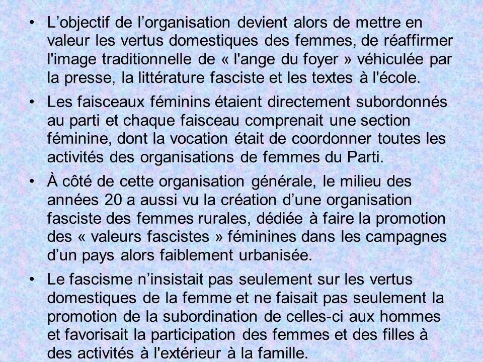 L'objectif de l'organisation devient alors de mettre en valeur les vertus domestiques des femmes, de réaffirmer l image traditionnelle de « l ange du foyer » véhiculée par la presse, la littérature fasciste et les textes à l école.