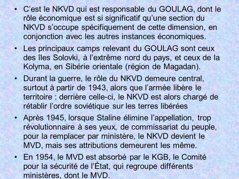 C'est le NKVD qui est responsable du GOULAG, dont le rôle économique est si significatif qu'une section du NKVD s'occupe spécifiquement de cette dimension, en conjonction avec les autres instances économiques.