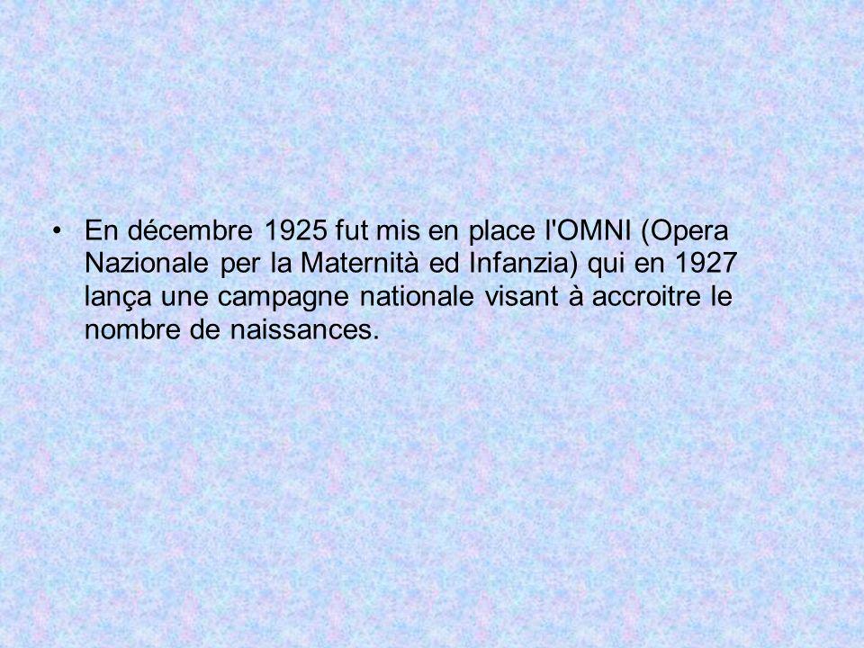 En décembre 1925 fut mis en place l OMNI (Opera Nazionale per la Maternità ed Infanzia) qui en 1927 lança une campagne nationale visant à accroitre le nombre de naissances.