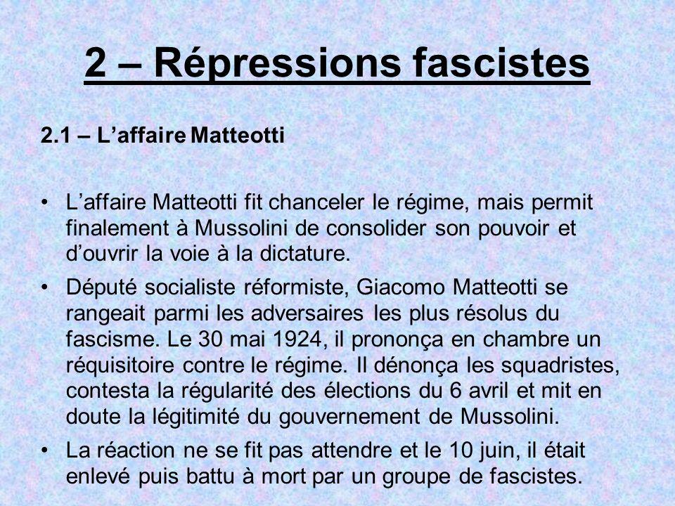 2 – Répressions fascistes