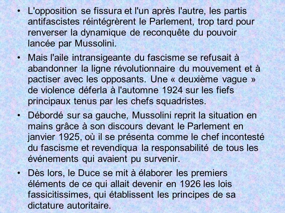 L opposition se fissura et l un après l autre, les partis antifascistes réintégrèrent le Parlement, trop tard pour renverser la dynamique de reconquête du pouvoir lancée par Mussolini.