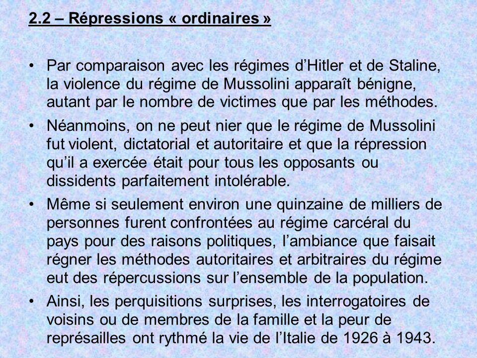 2.2 – Répressions « ordinaires »