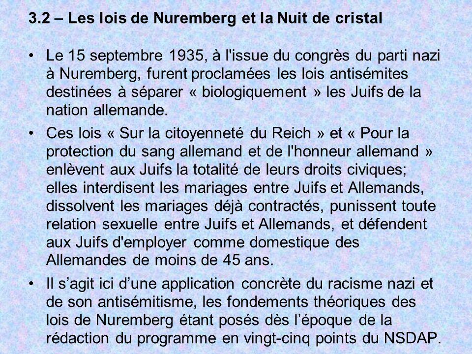3.2 – Les lois de Nuremberg et la Nuit de cristal