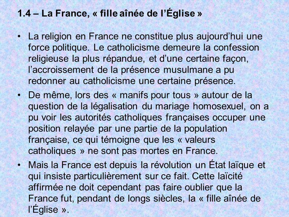 1.4 – La France, « fille aînée de l'Église »