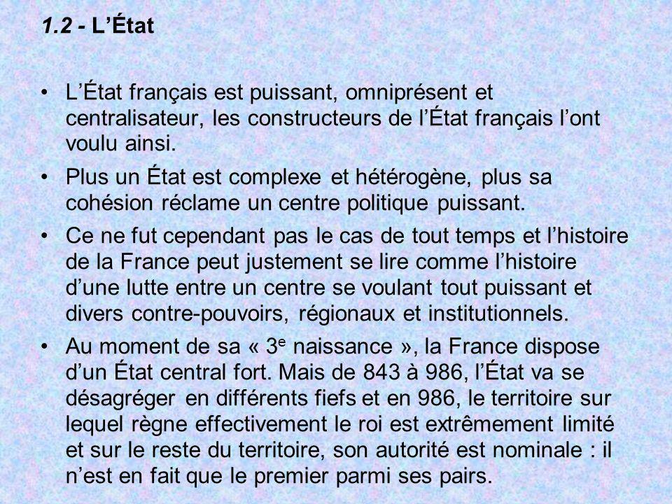 1.2 - L'État L'État français est puissant, omniprésent et centralisateur, les constructeurs de l'État français l'ont voulu ainsi.