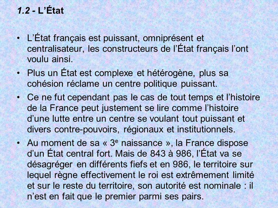 1.2 - L'ÉtatL'État français est puissant, omniprésent et centralisateur, les constructeurs de l'État français l'ont voulu ainsi.