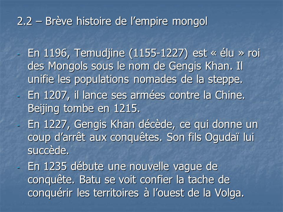 2.2 – Brève histoire de l'empire mongol