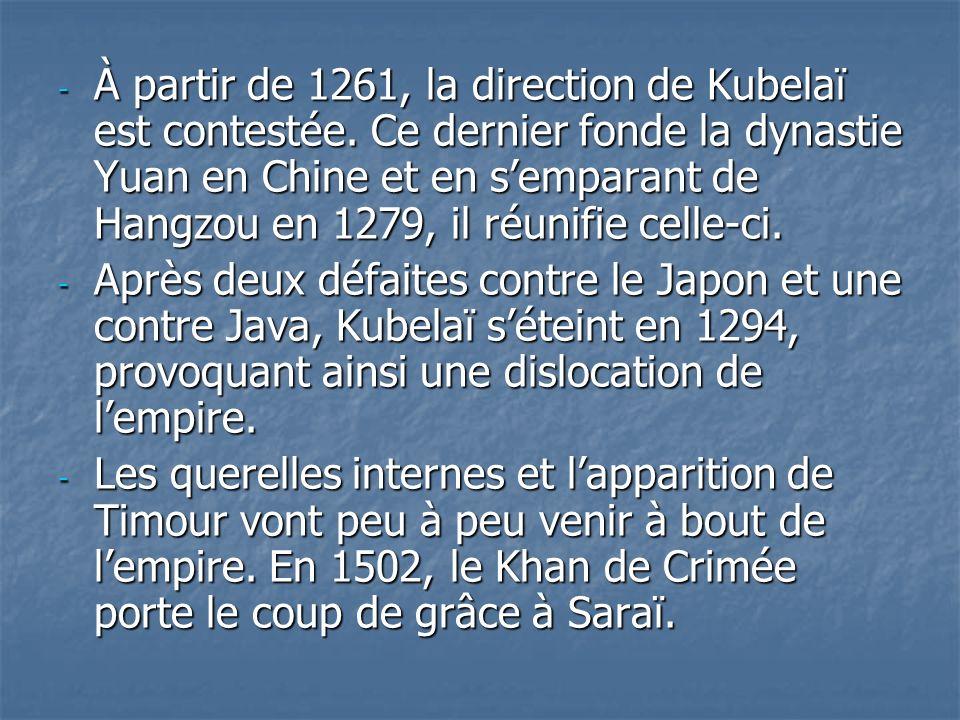 À partir de 1261, la direction de Kubelaï est contestée