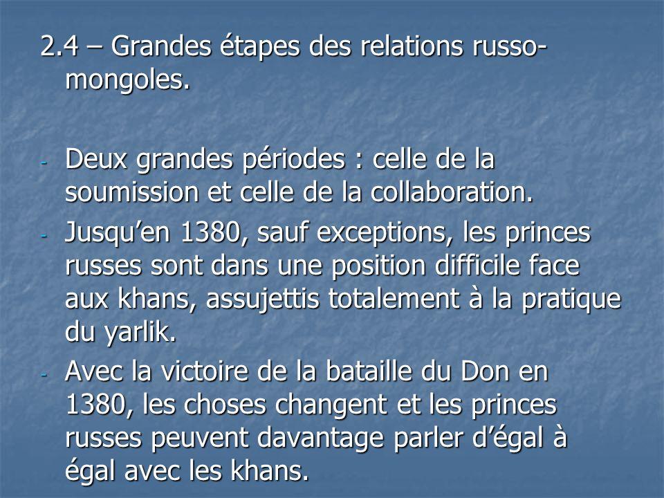 2.4 – Grandes étapes des relations russo-mongoles.
