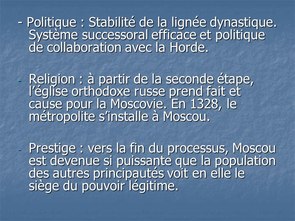 - Politique : Stabilité de la lignée dynastique