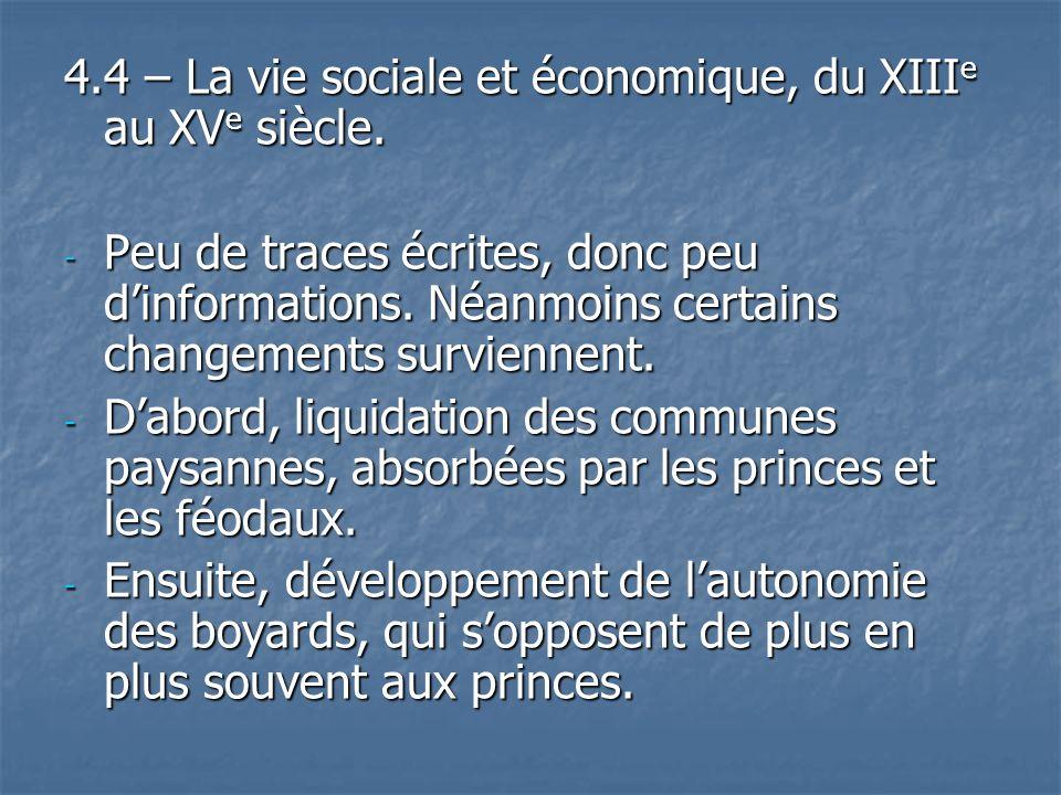 4.4 – La vie sociale et économique, du XIIIe au XVe siècle.