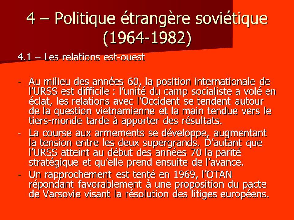 4 – Politique étrangère soviétique (1964-1982)