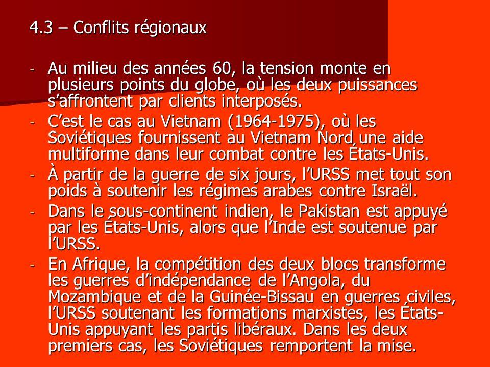 4.3 – Conflits régionaux
