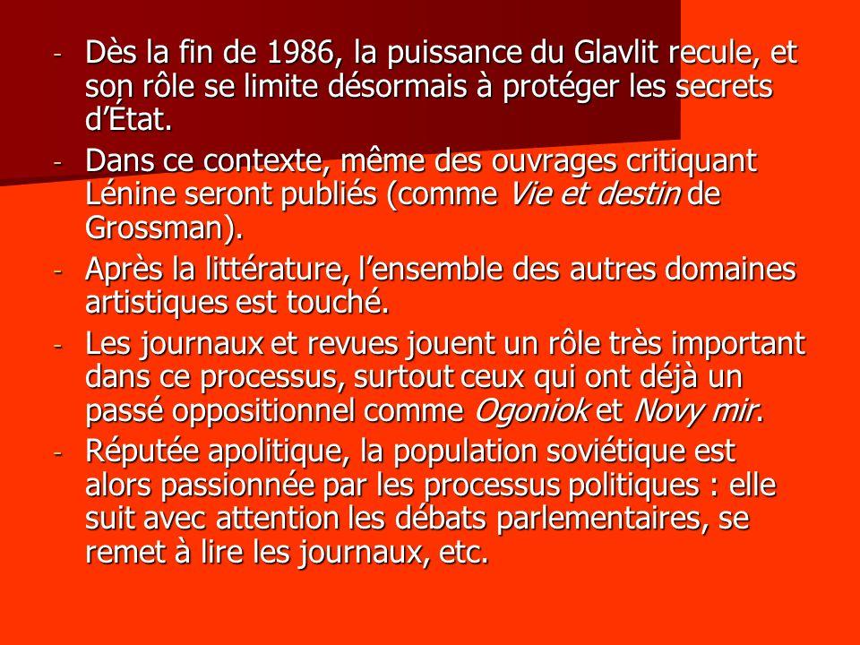 Dès la fin de 1986, la puissance du Glavlit recule, et son rôle se limite désormais à protéger les secrets d'État.