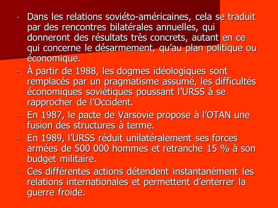 Dans les relations soviéto-américaines, cela se traduit par des rencontres bilatérales annuelles, qui donneront des résultats très concrets, autant en ce qui concerne le désarmement, qu'au plan politique ou économique.
