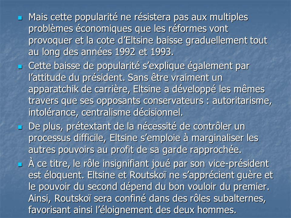 Mais cette popularité ne résistera pas aux multiples problèmes économiques que les réformes vont provoquer et la cote d'Eltsine baisse graduellement tout au long des années 1992 et 1993.
