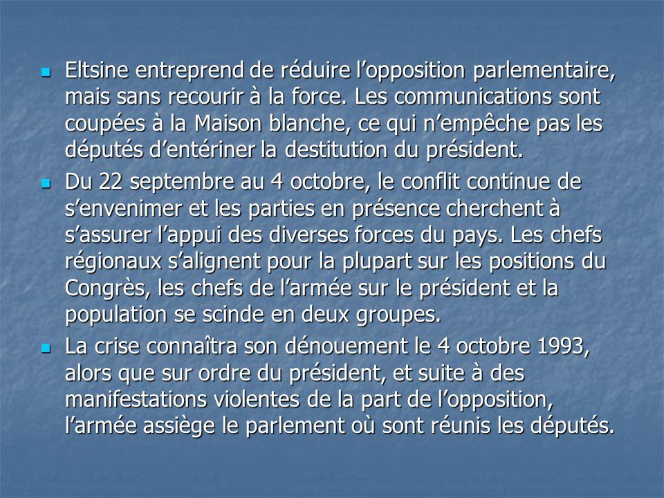 Eltsine entreprend de réduire l'opposition parlementaire, mais sans recourir à la force. Les communications sont coupées à la Maison blanche, ce qui n'empêche pas les députés d'entériner la destitution du président.