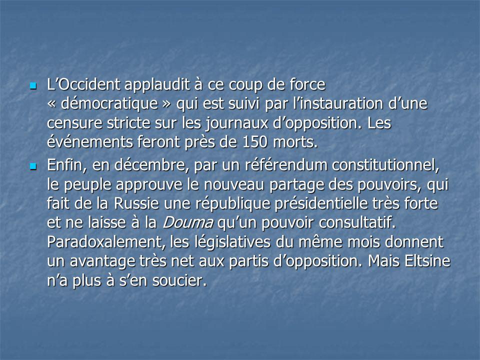 L'Occident applaudit à ce coup de force « démocratique » qui est suivi par l'instauration d'une censure stricte sur les journaux d'opposition. Les événements feront près de 150 morts.