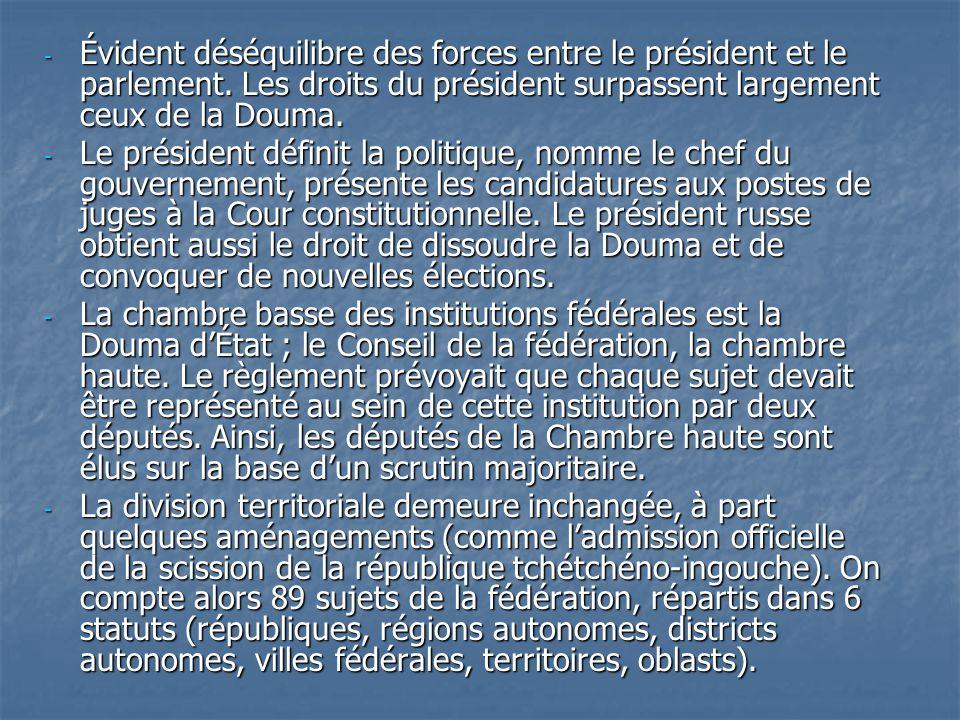 Évident déséquilibre des forces entre le président et le parlement
