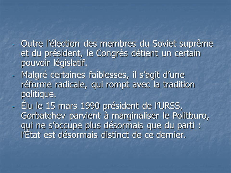 Outre l'élection des membres du Soviet suprême et du président, le Congrès détient un certain pouvoir législatif.