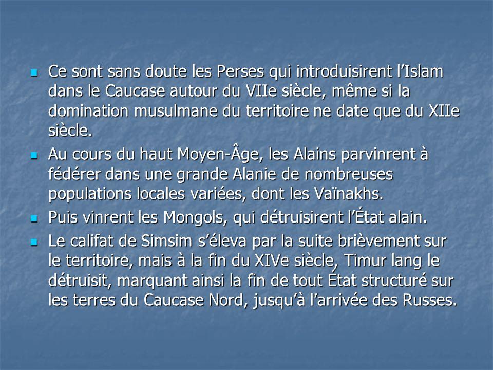 Ce sont sans doute les Perses qui introduisirent l'Islam dans le Caucase autour du VIIe siècle, même si la domination musulmane du territoire ne date que du XIIe siècle.