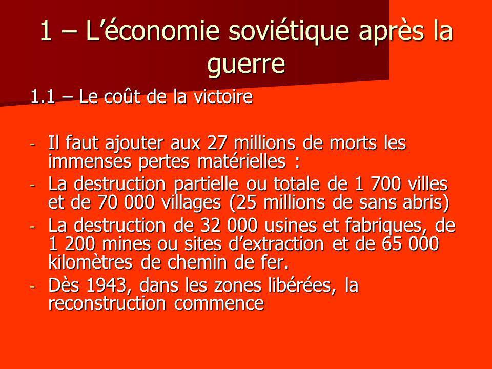 1 – L'économie soviétique après la guerre