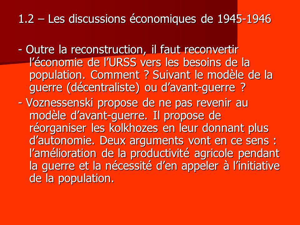 1.2 – Les discussions économiques de 1945-1946