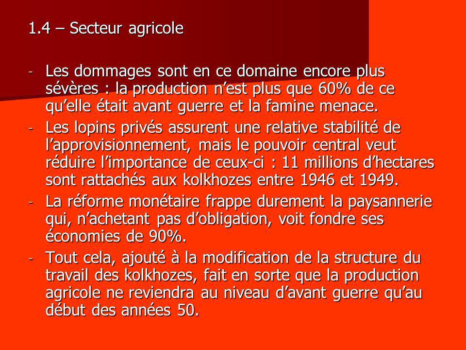 1.4 – Secteur agricole