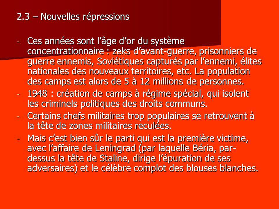 2.3 – Nouvelles répressions