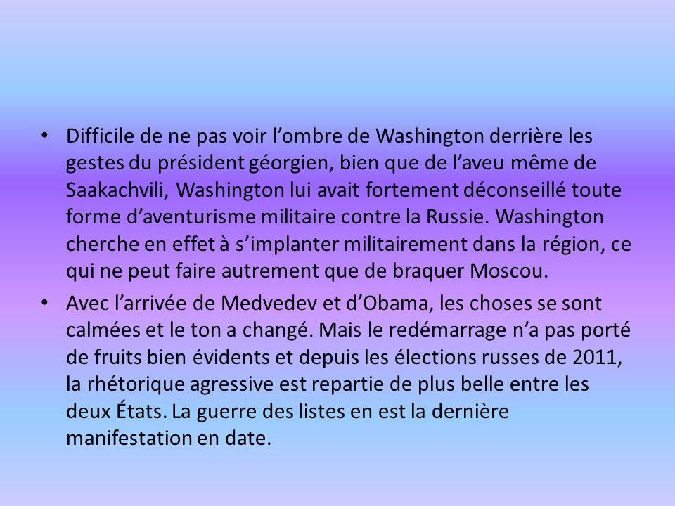 Difficile de ne pas voir l'ombre de Washington derrière les gestes du président géorgien, bien que de l'aveu même de Saakachvili, Washington lui avait fortement déconseillé toute forme d'aventurisme militaire contre la Russie. Washington cherche en effet à s'implanter militairement dans la région, ce qui ne peut faire autrement que de braquer Moscou.