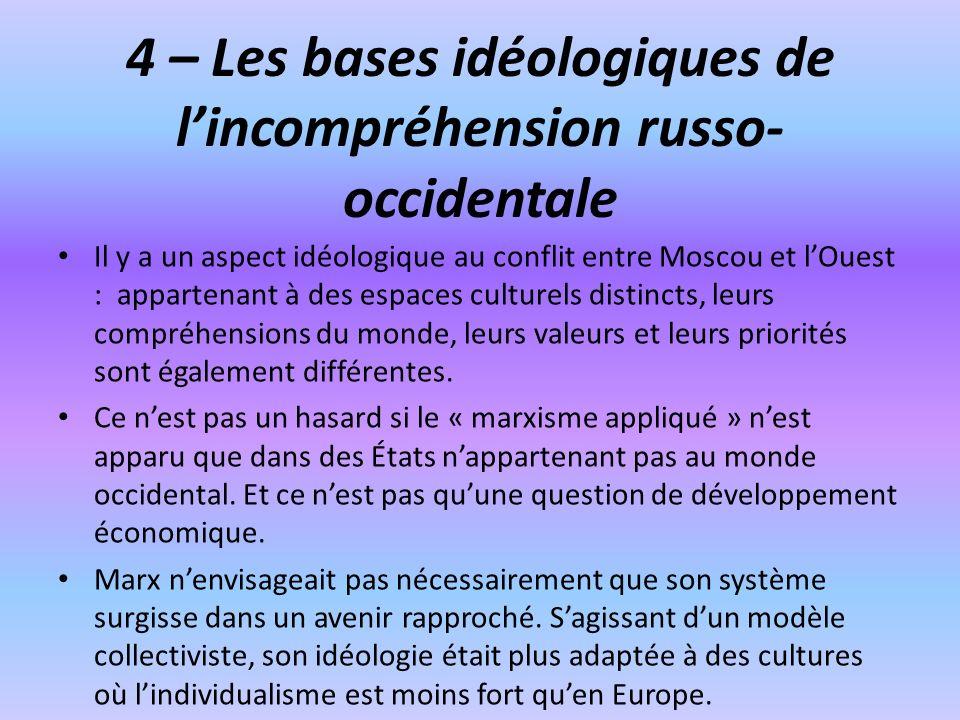 4 – Les bases idéologiques de l'incompréhension russo-occidentale