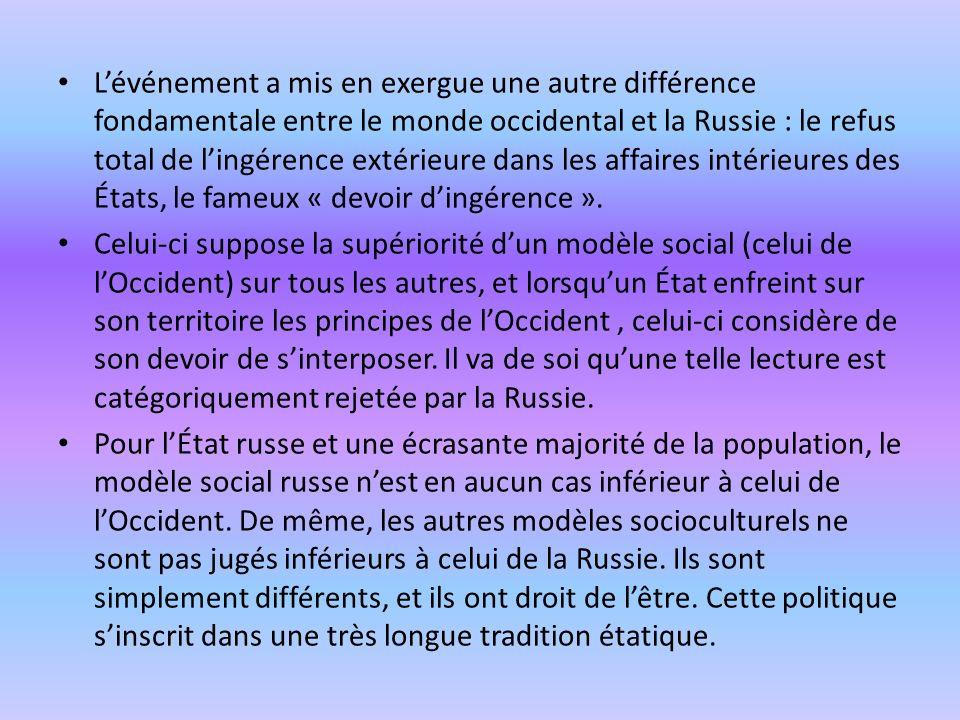 L'événement a mis en exergue une autre différence fondamentale entre le monde occidental et la Russie : le refus total de l'ingérence extérieure dans les affaires intérieures des États, le fameux « devoir d'ingérence ».