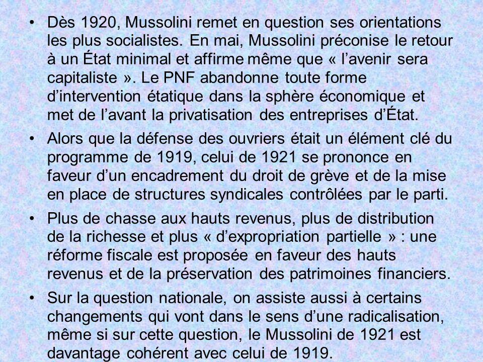 Dès 1920, Mussolini remet en question ses orientations les plus socialistes. En mai, Mussolini préconise le retour à un État minimal et affirme même que « l'avenir sera capitaliste ». Le PNF abandonne toute forme d'intervention étatique dans la sphère économique et met de l'avant la privatisation des entreprises d'État.