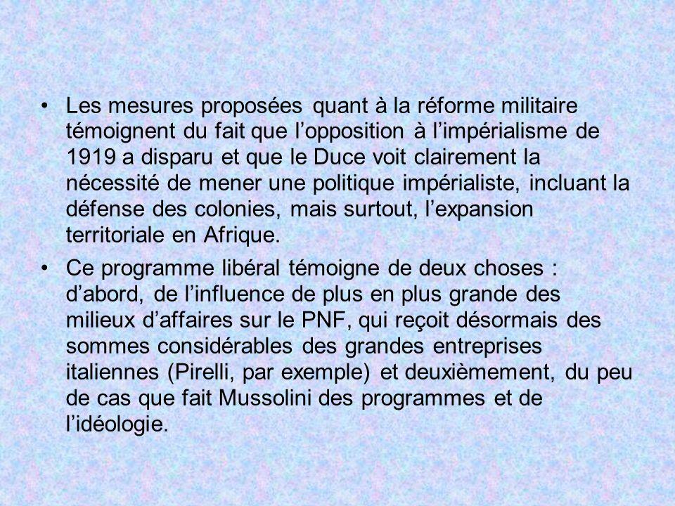 Les mesures proposées quant à la réforme militaire témoignent du fait que l'opposition à l'impérialisme de 1919 a disparu et que le Duce voit clairement la nécessité de mener une politique impérialiste, incluant la défense des colonies, mais surtout, l'expansion territoriale en Afrique.