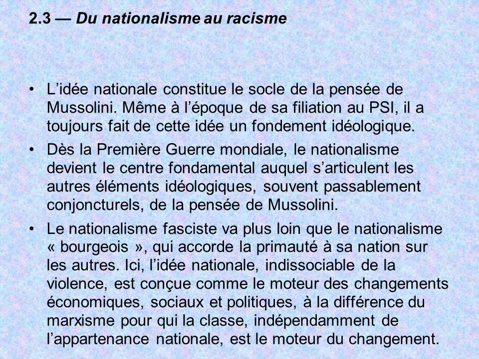 2.3 — Du nationalisme au racisme
