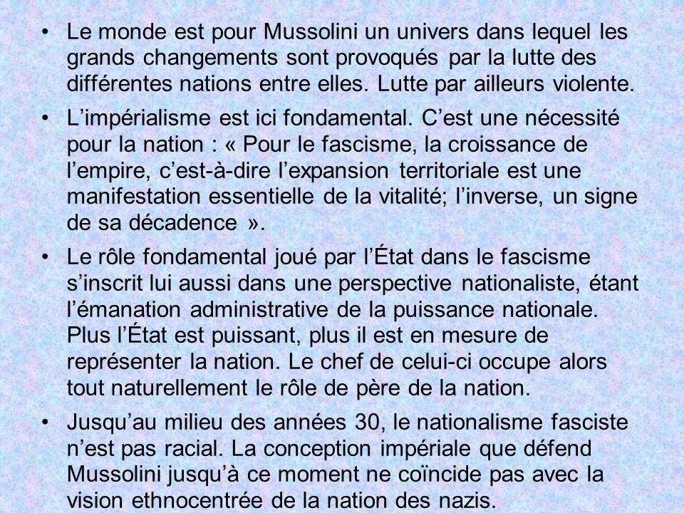 Le monde est pour Mussolini un univers dans lequel les grands changements sont provoqués par la lutte des différentes nations entre elles. Lutte par ailleurs violente.