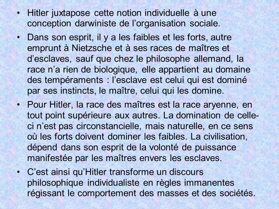 Hitler juxtapose cette notion individuelle à une conception darwiniste de l'organisation sociale.