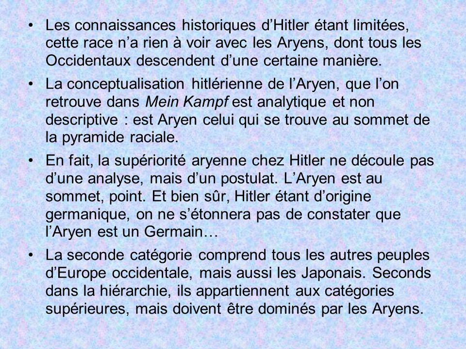 Les connaissances historiques d'Hitler étant limitées, cette race n'a rien à voir avec les Aryens, dont tous les Occidentaux descendent d'une certaine manière.