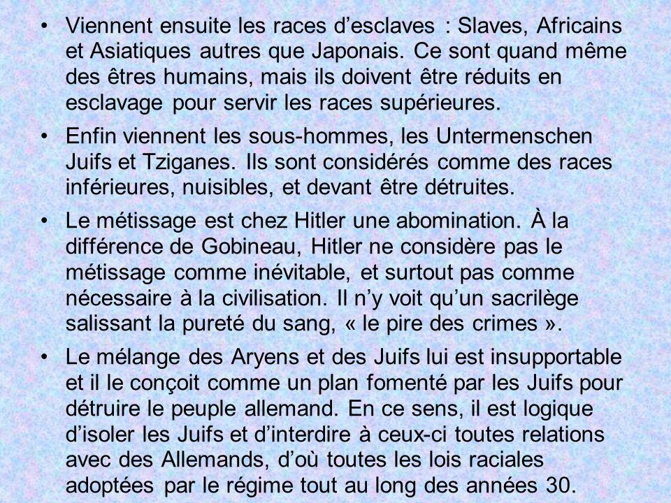 Viennent ensuite les races d'esclaves : Slaves, Africains et Asiatiques autres que Japonais. Ce sont quand même des êtres humains, mais ils doivent être réduits en esclavage pour servir les races supérieures.